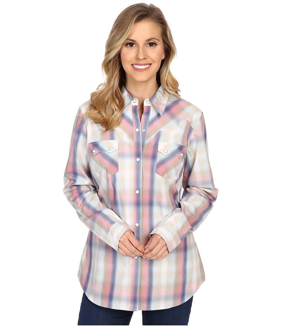 Roper - 0200 Ombre Plaid Shirt (Blue) Women's Clothing