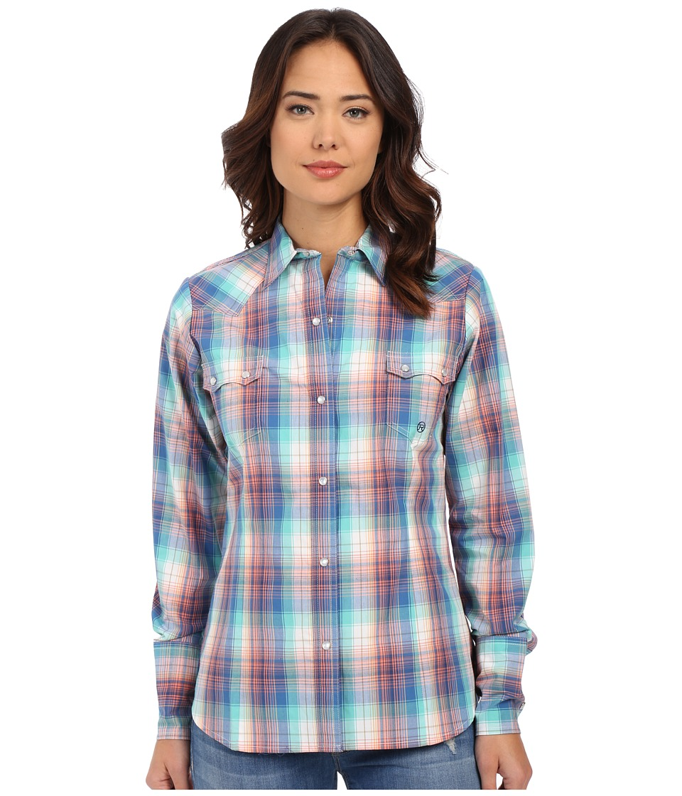Roper - 0171 Solar Plaid (Blue) Women's Long Sleeve Button Up