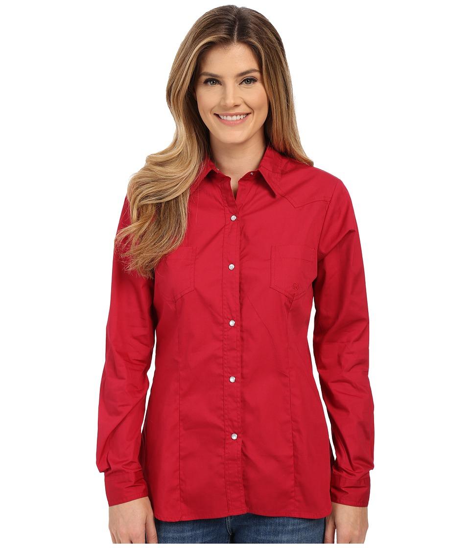 Roper - 0282 Solid Poplin (Red) Women's Long Sleeve Button Up