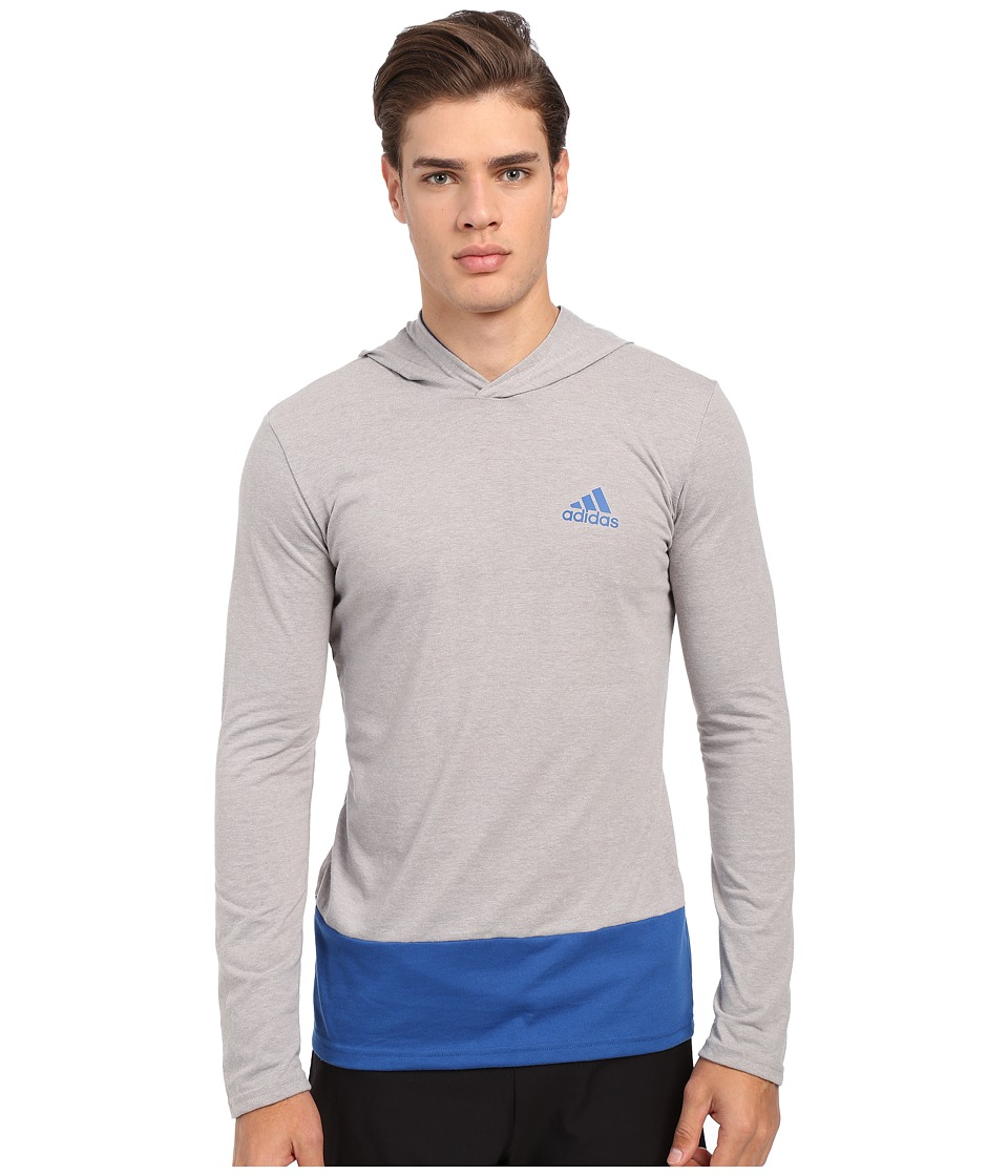 adidas - Go-To Performance Hooded Long Sleeve Tee (Medium Grey Heather/EQT Blue) Men