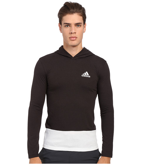 adidas - Go-To Performance Hooded Long Sleeve Tee (Black/White) Men's Sweatshirt
