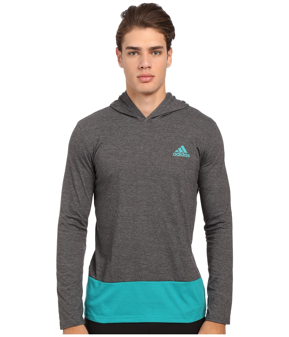 adidas - Go-To Performance Hooded Long Sleeve Tee (Dark Grey Heather/EQT Green) Men's Sweatshirt