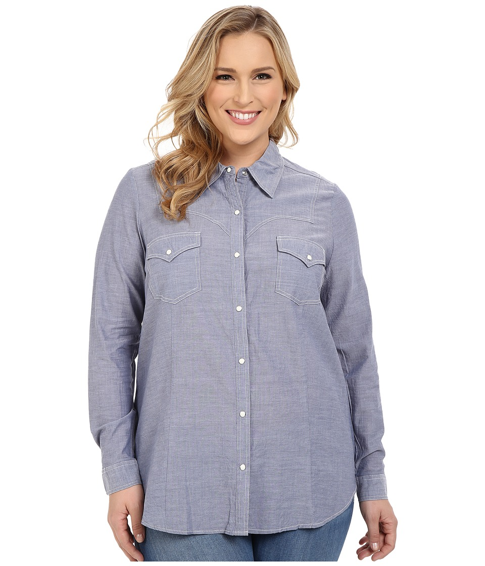 Roper - Plus Size 0201 Chambray Shirt (Blue) Women's Long Sleeve Button Up