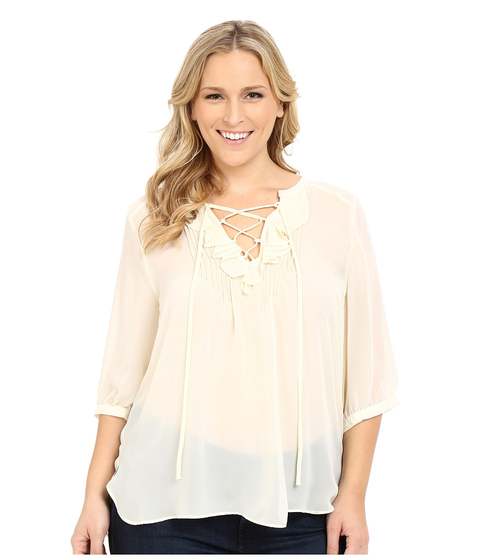 Roper - Plus Size 0232 Solid Georgette Hi-Lo Blouse (White) Women's Blouse
