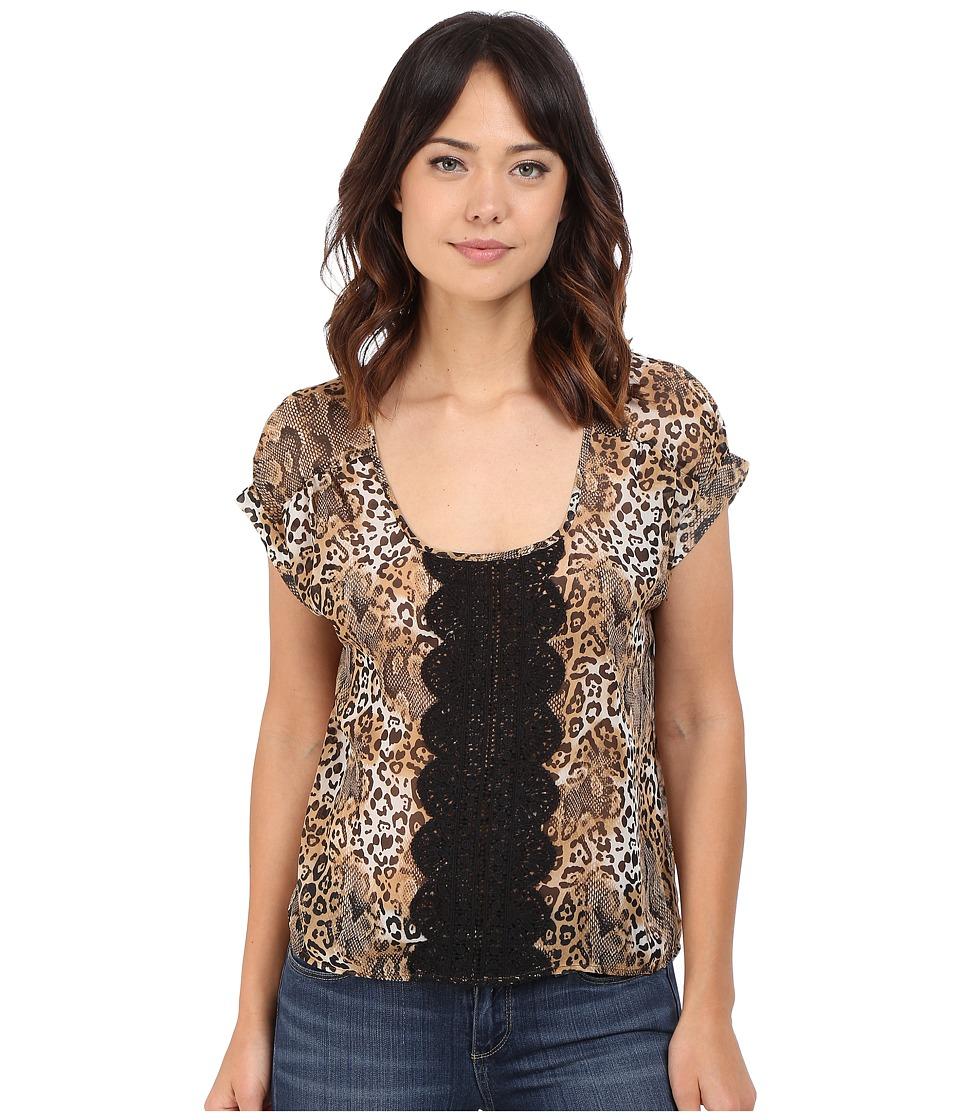 Roper - 0223 Leopard Print Chiffon Top (Brown) Women's Clothing