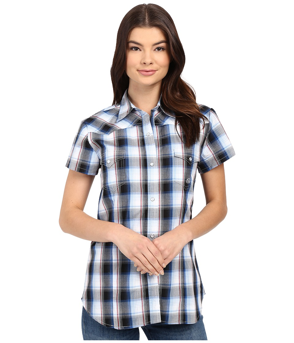 Roper - 0166 Stone Plaid (Blue) Women's Clothing