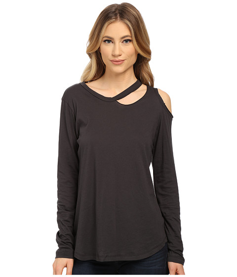 LNA - Long Sleeve Slash Tee (Charcoal) Women's T Shirt