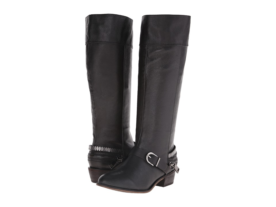 Chinese Laundry - Solar Knee High Buckled Boot (Black Leather) Women's Pull-on Boots