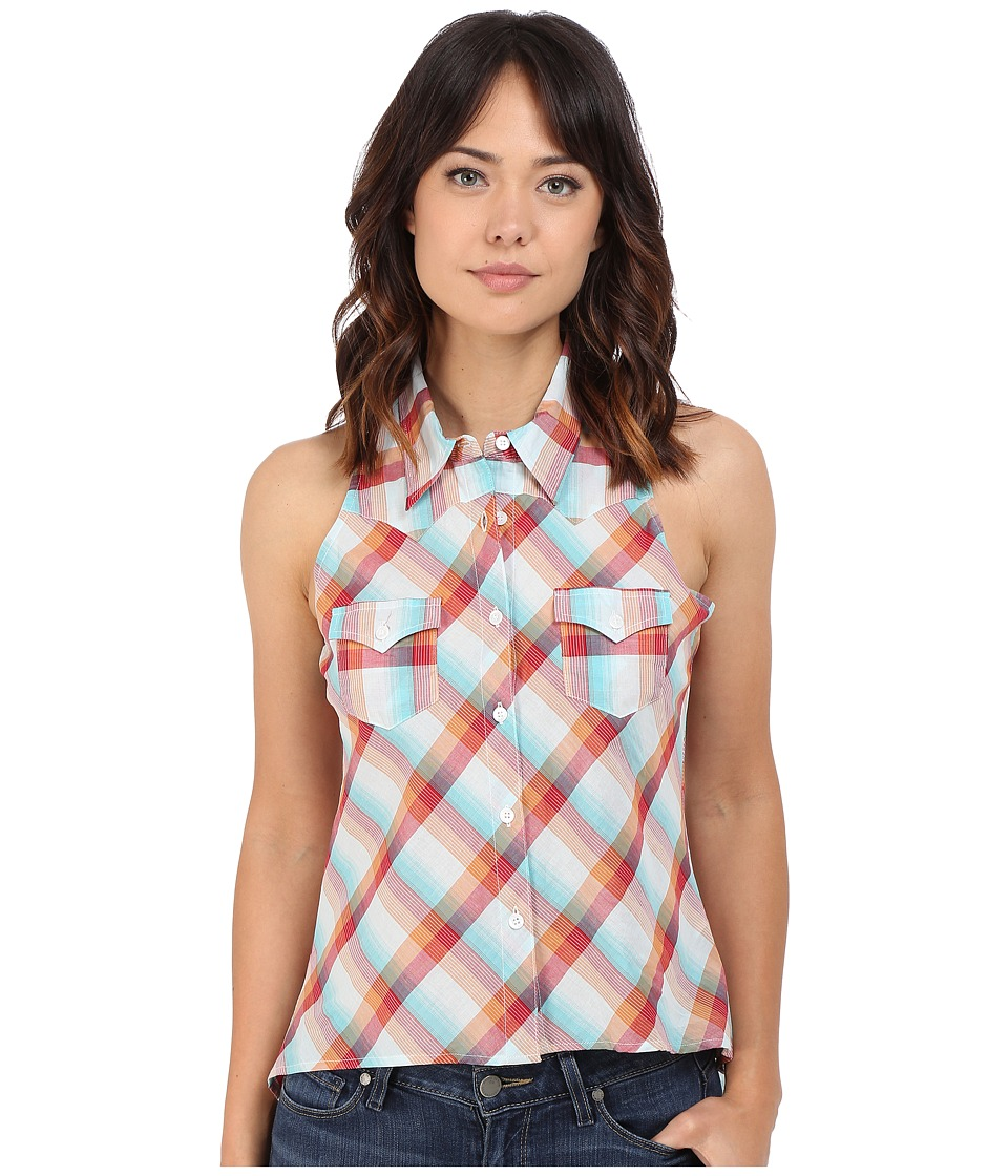 Roper - 0224 Bright Multi Plaid Sleeveless Shirt (Blue) Women's Sleeveless