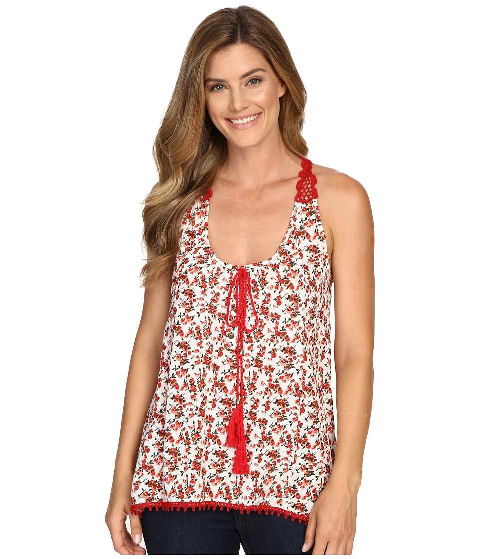 Roper - 0350 Floral Print Rayon Tank Top (Red) Women's Sleeveless