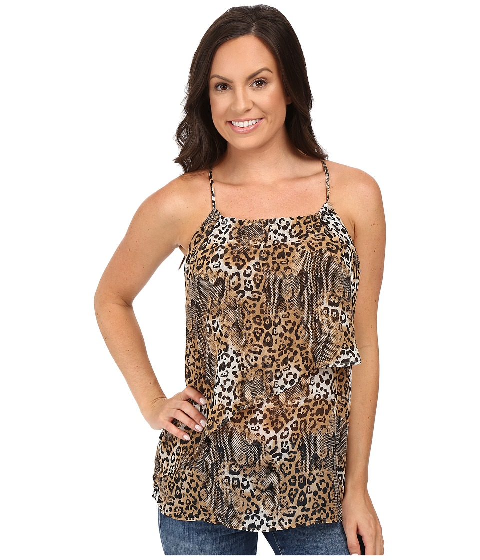Roper - 0223 Leopard Print Chiffon Tank Top (Brown) Women's Sleeveless