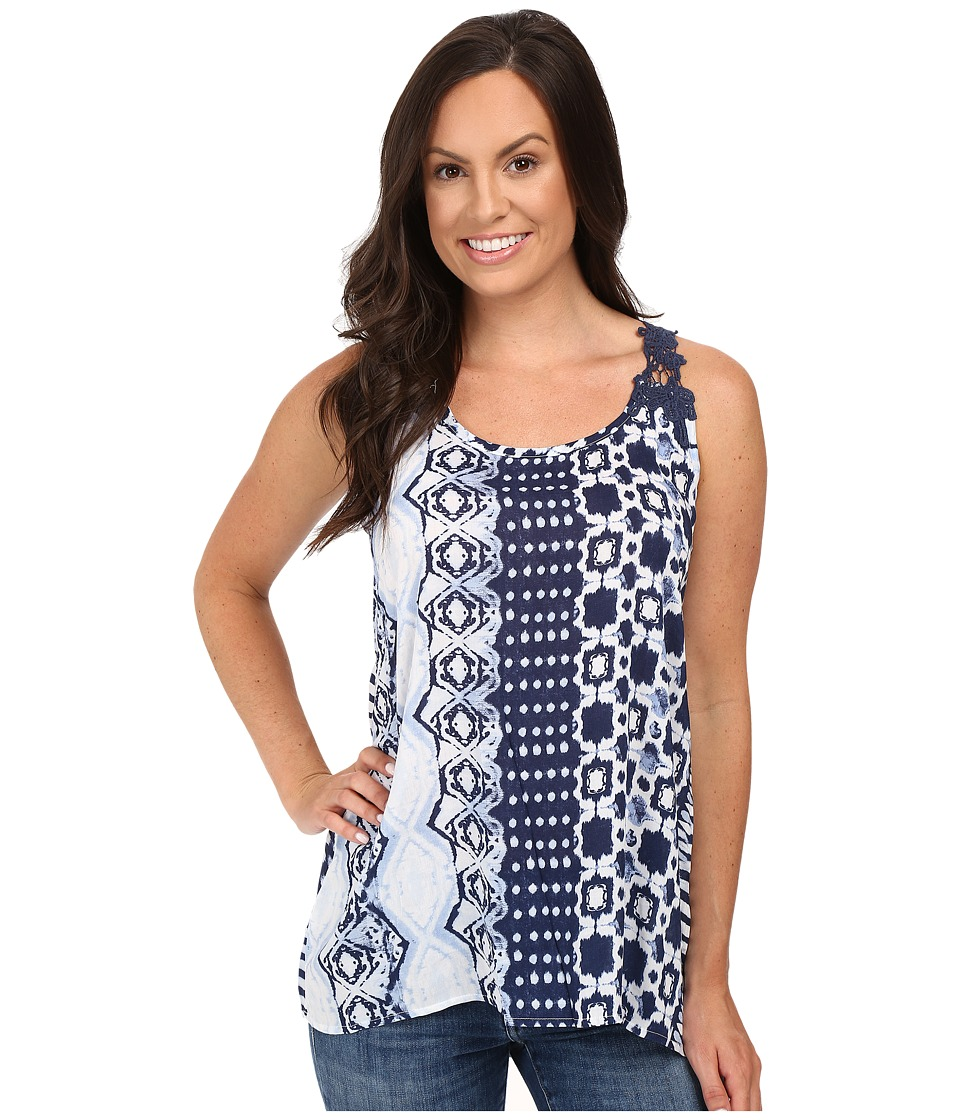 Roper - 0235 Aztec Stripe Printed Tank Top (Blue) Women's Sleeveless