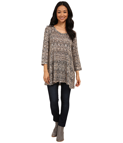 Nally & Millie - Black Cream Ikat Tunic (Multi) Women's Blouse