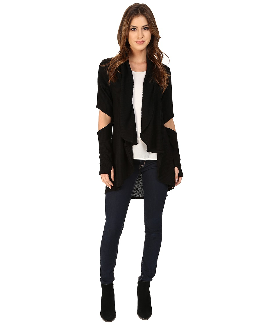 LNA - Open Elbow Cardigan (Black) Women's Sweater