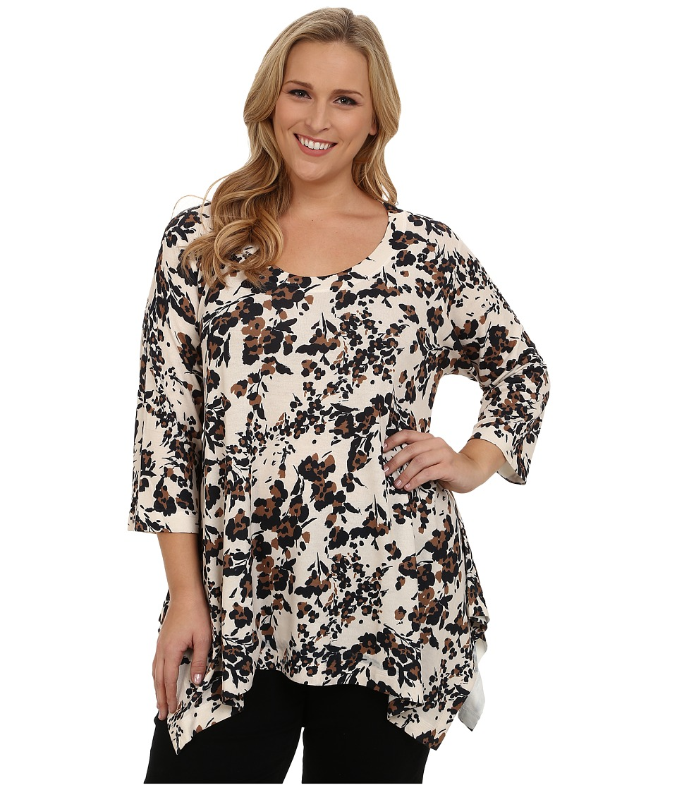 Nally & Millie - Plus Size Ditsy Floral Tunic (Multi) Women's Blouse