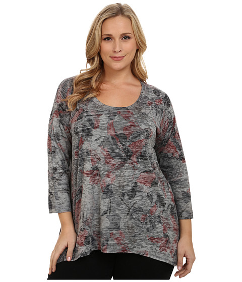 Nally & Millie - Plus Size Floral Tunic (Multi) Women's Blouse