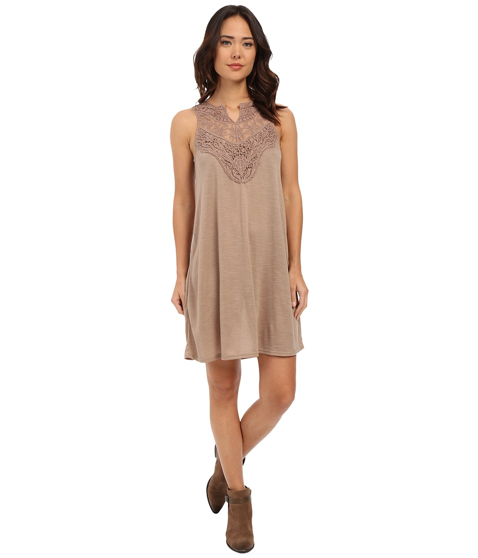 Roper - 0231 Poly Slub Jersey Dress (Brown) Women's Dress