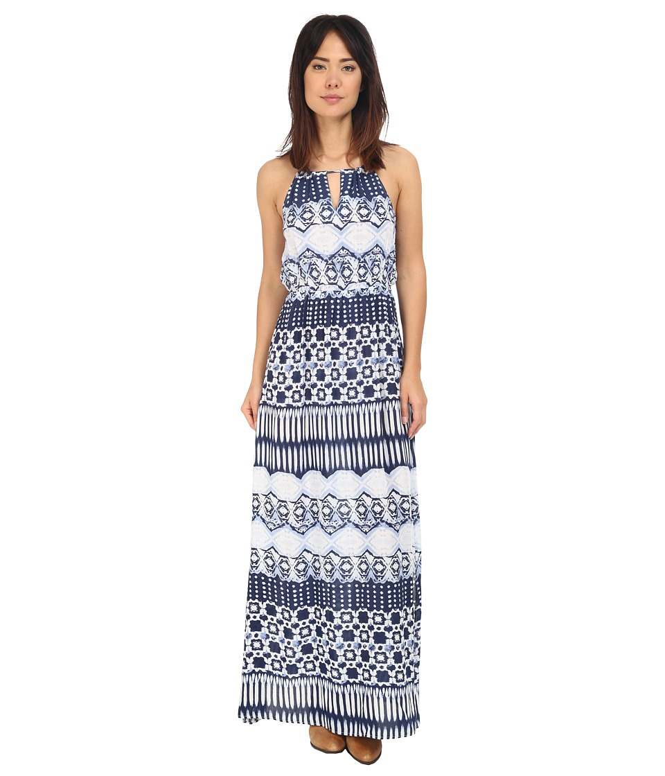 Roper - 0235 Aztec Stripe Printed Maxi Dress (Blue) Women's Dress