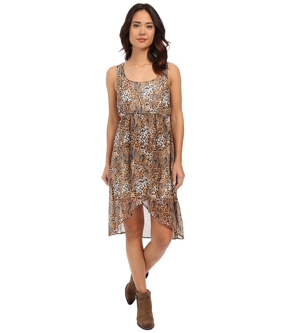 Roper - 0223 Leopard Print Chiffon Dress (Brown) Women's Dress