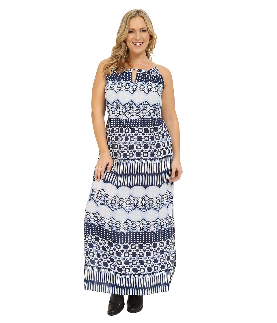 Roper - Plus Size 0235 Aztec Stripe Printed Maxi Dress (Blue) Women's Dress