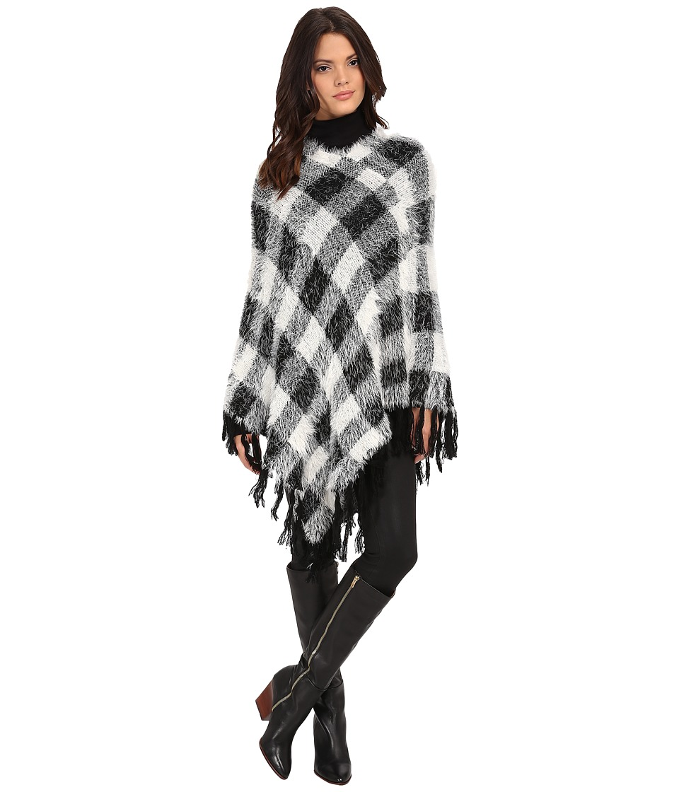 Steve Madden - Buffalo Plaid Eyelash Poncho (Black/Ivory) Women's Coat