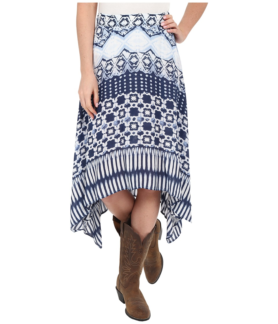 Roper 0235 Aztec Stripe Printed Rayon Skirt (Blue) Women