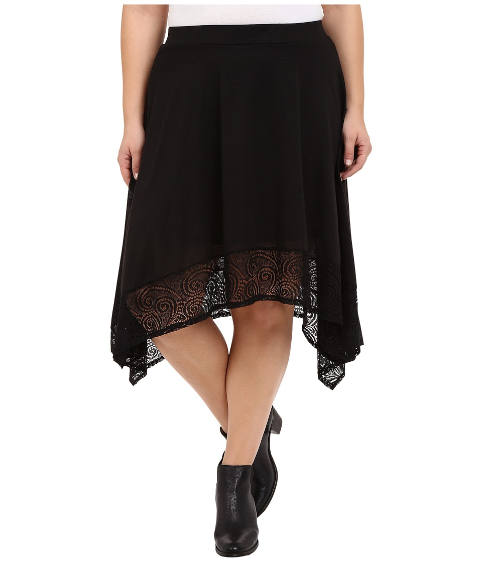 Roper Plus Size 0231 Poly Slub Jersey Skirt (Black) Women