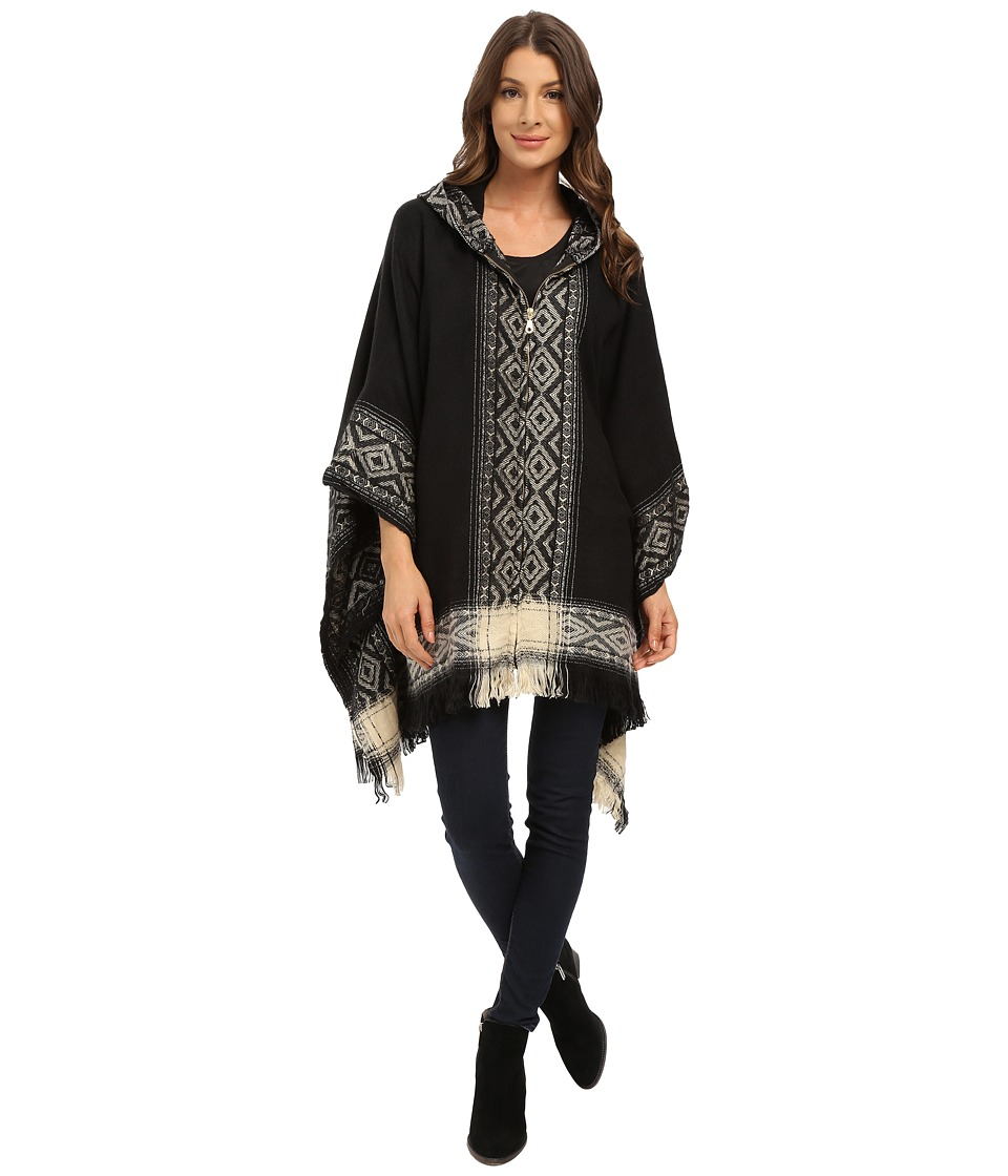 Steve Madden - Mayan Pattern Zip Front with Hood (Black) Women's Clothing