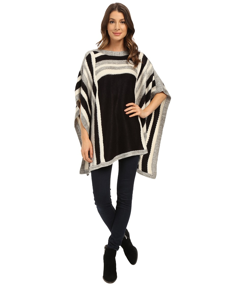 Steve Madden - Woven Rectangular Poncho (Black) Women's Sweater