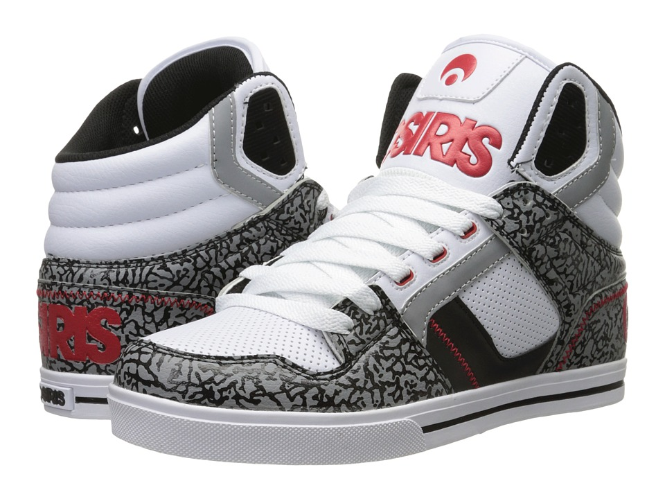 Osiris - Clone (White/Red/Elephant) Men's Skate Shoes