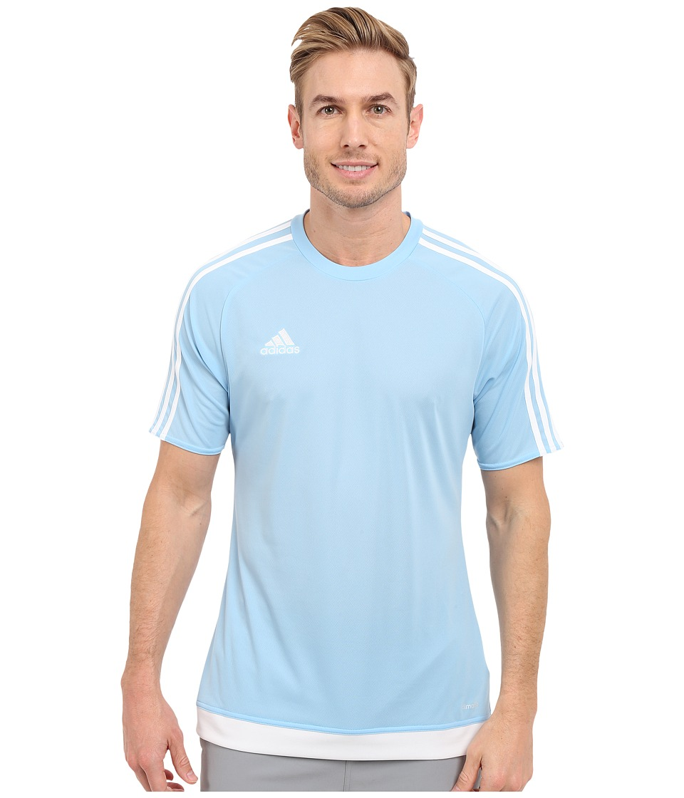 adidas - Estro 15 Jersey (Clear Blue/White) Men's Short Sleeve Pullover