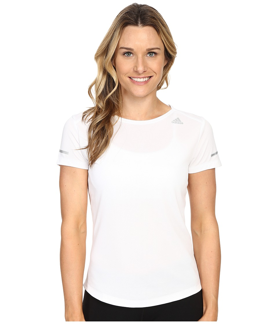adidas - Run Short Sleeve Tee (White) Women's Short Sleeve Pullover