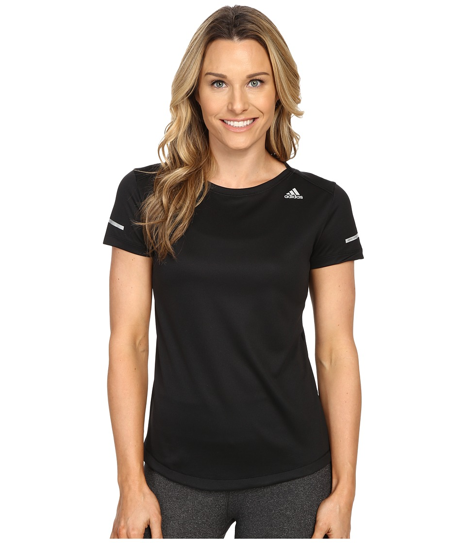 adidas - Run Short Sleeve Tee (Black) Women's Short Sleeve Pullover