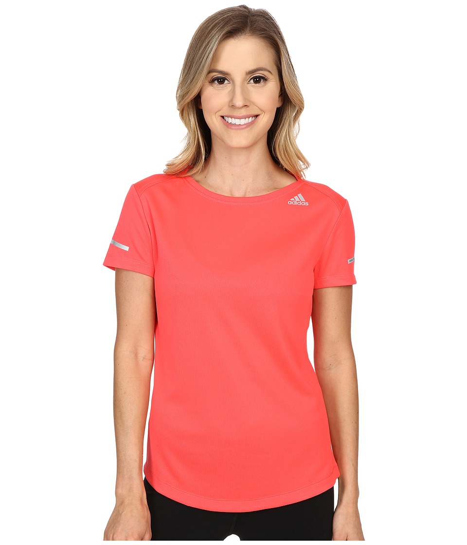 adidas - Run Short Sleeve Tee (Shock Red) Women