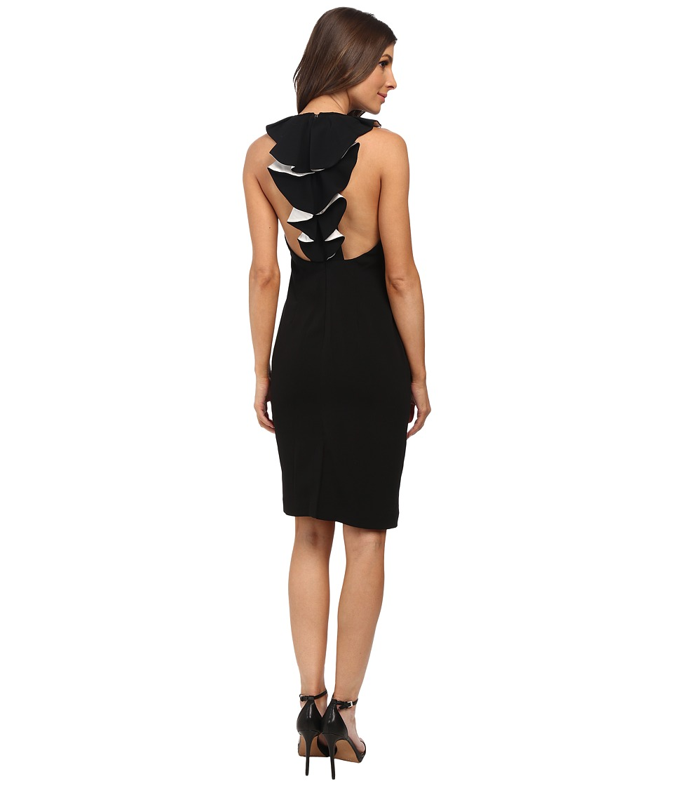 Badgley Mischka - Contrast Ruffle Back Cocktail (Black/Ivory) Women's Dress