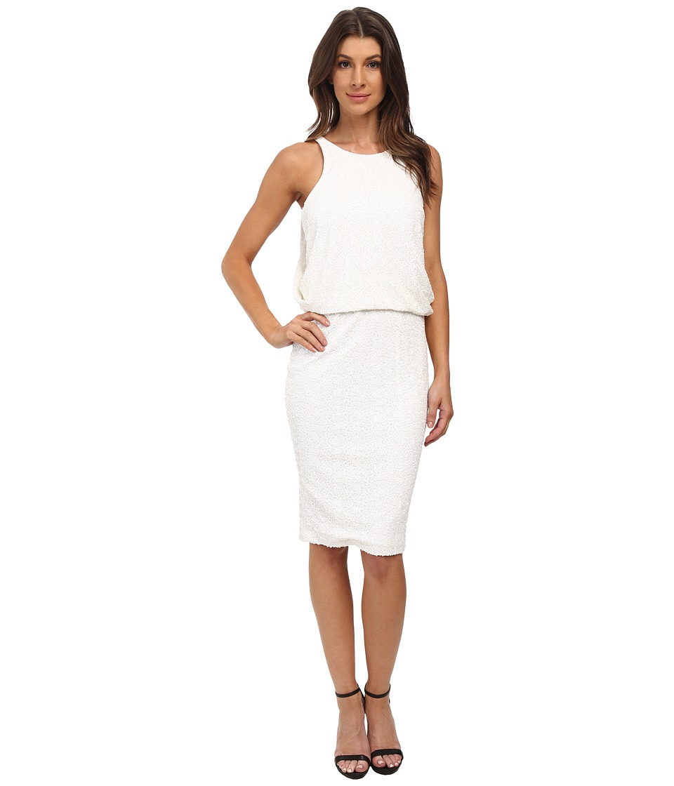 Badgley Mischka - Sequin Blouson Racerback Cocktail (Ivory) Women's Dress