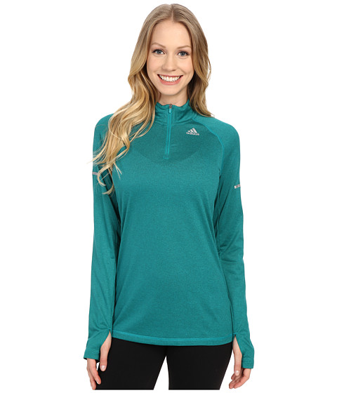 adidas - Run Half Zip Long Sleeve Tee (EQT Green) Women's Workout