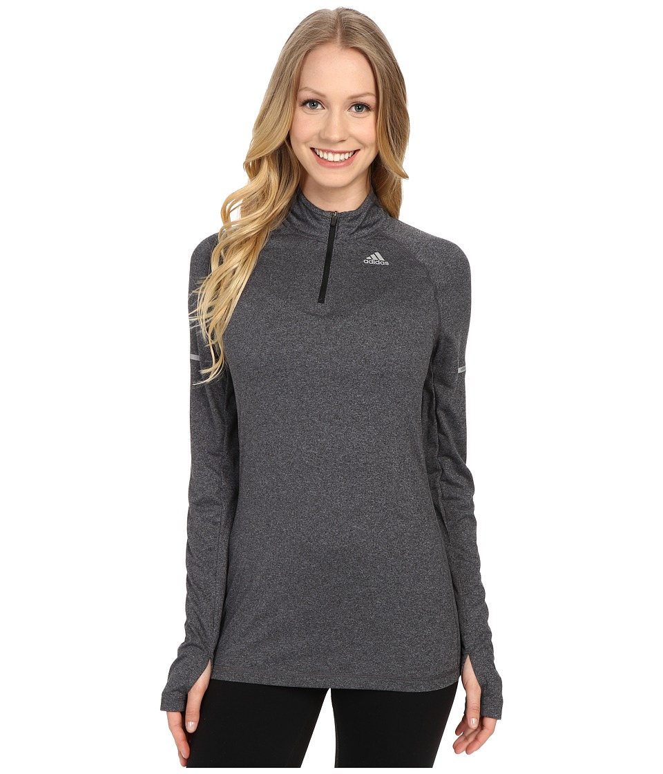 adidas - Run Half Zip Long Sleeve Tee (Black/Black) Women's Workout