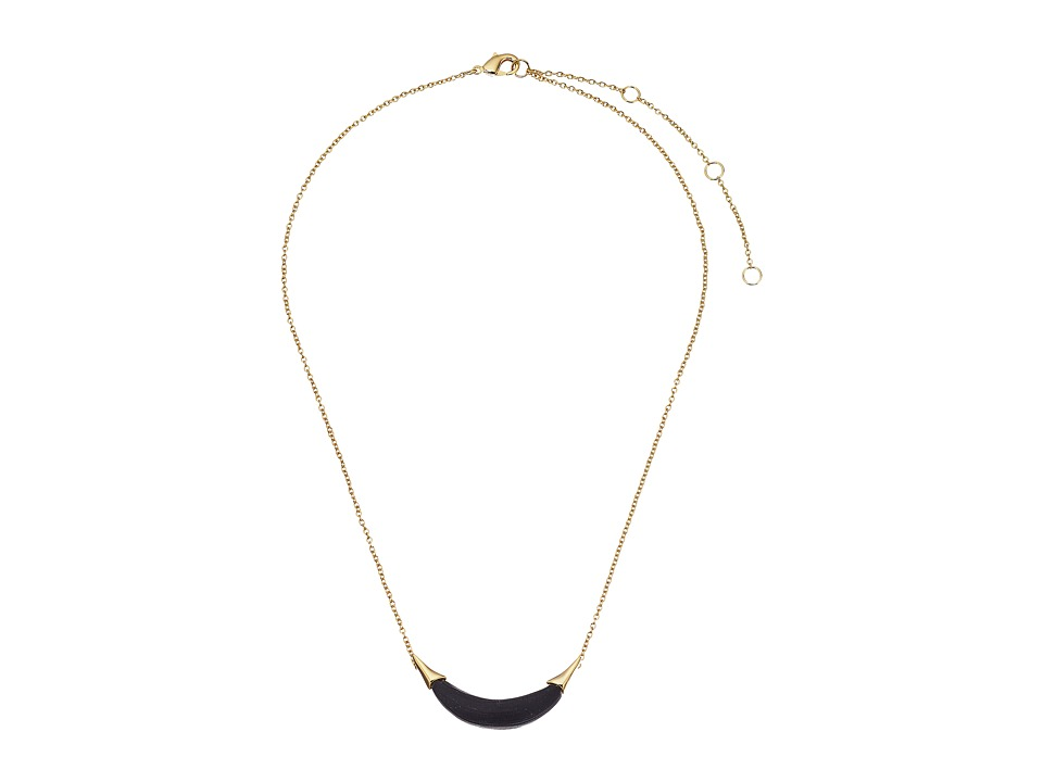 Alexis Bittar - Gold Crescent Pendant Necklace (Black) Necklace