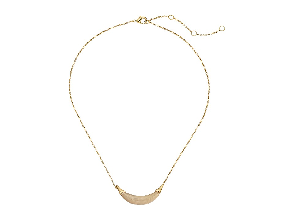 Alexis Bittar - Gold Crescent Pendant Necklace (Warm Grey) Necklace