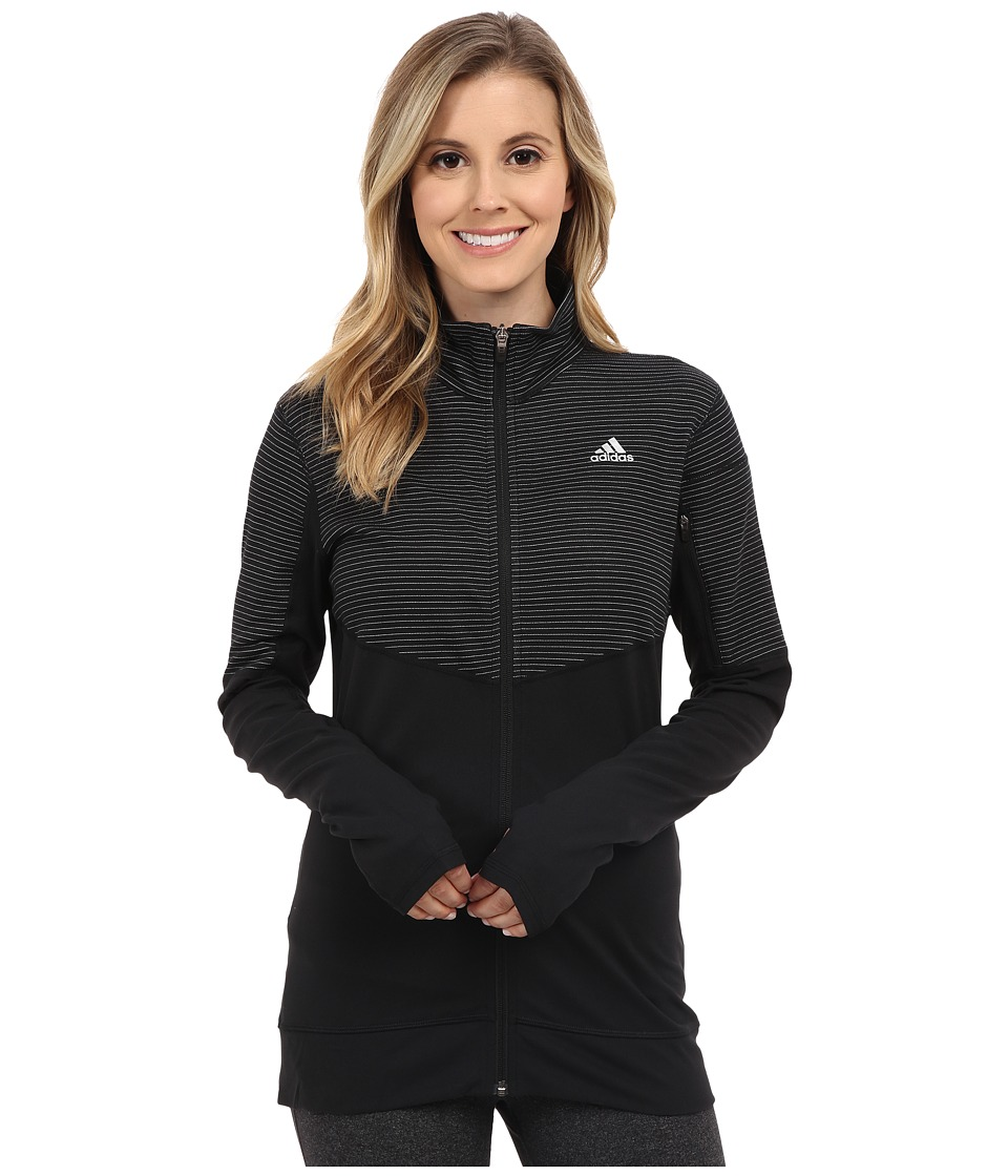 adidas - Lightweight Full Zip Jacket (Black/Black/Matte Silver) Women's Coat