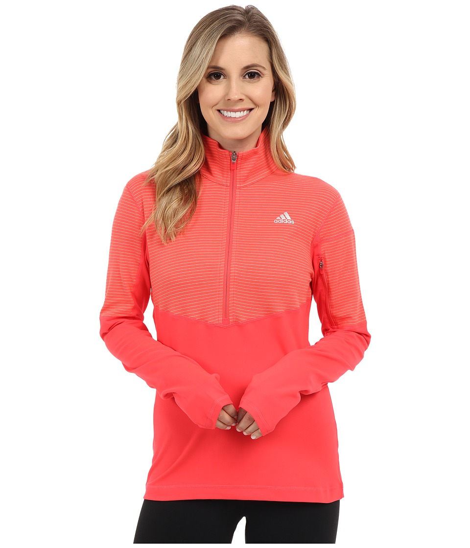 adidas - Lightweight Half Zip Pullover (Shock Red/Shock Red/Matte Silver) Women's Long Sleeve Pullover