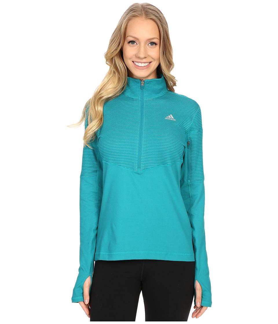 adidas - Lightweight Half Zip Pullover (EQT Green/EQT Green/Matte Silver) Women's Long Sleeve Pullover