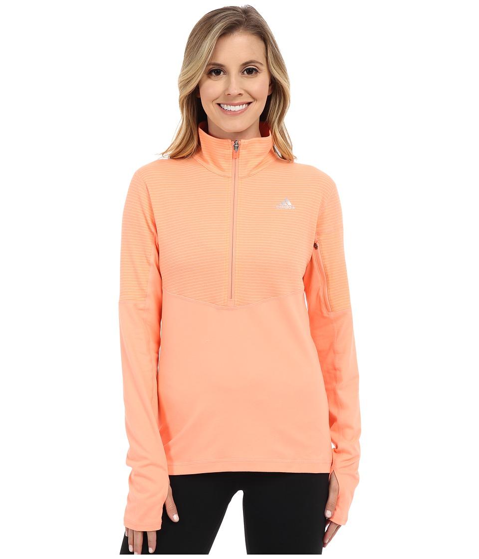 adidas - Lightweight Half Zip Pullover (Sun Glow/Sun Glow/Matte Silver) Women's Long Sleeve Pullover