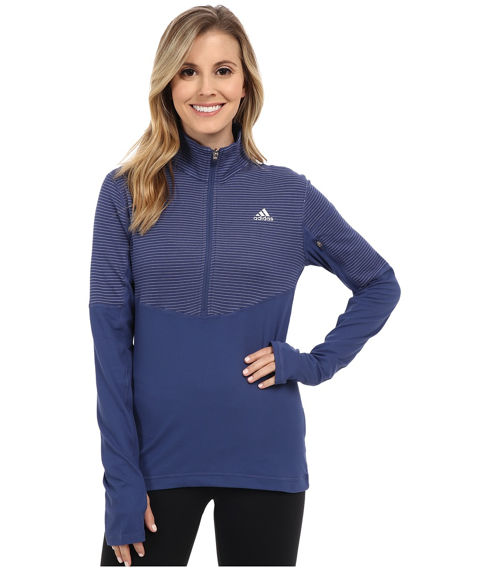 adidas - Lightweight Half Zip Pullover (Raw Purple/Raw Purple/Matte Silver) Women's Long Sleeve Pullover