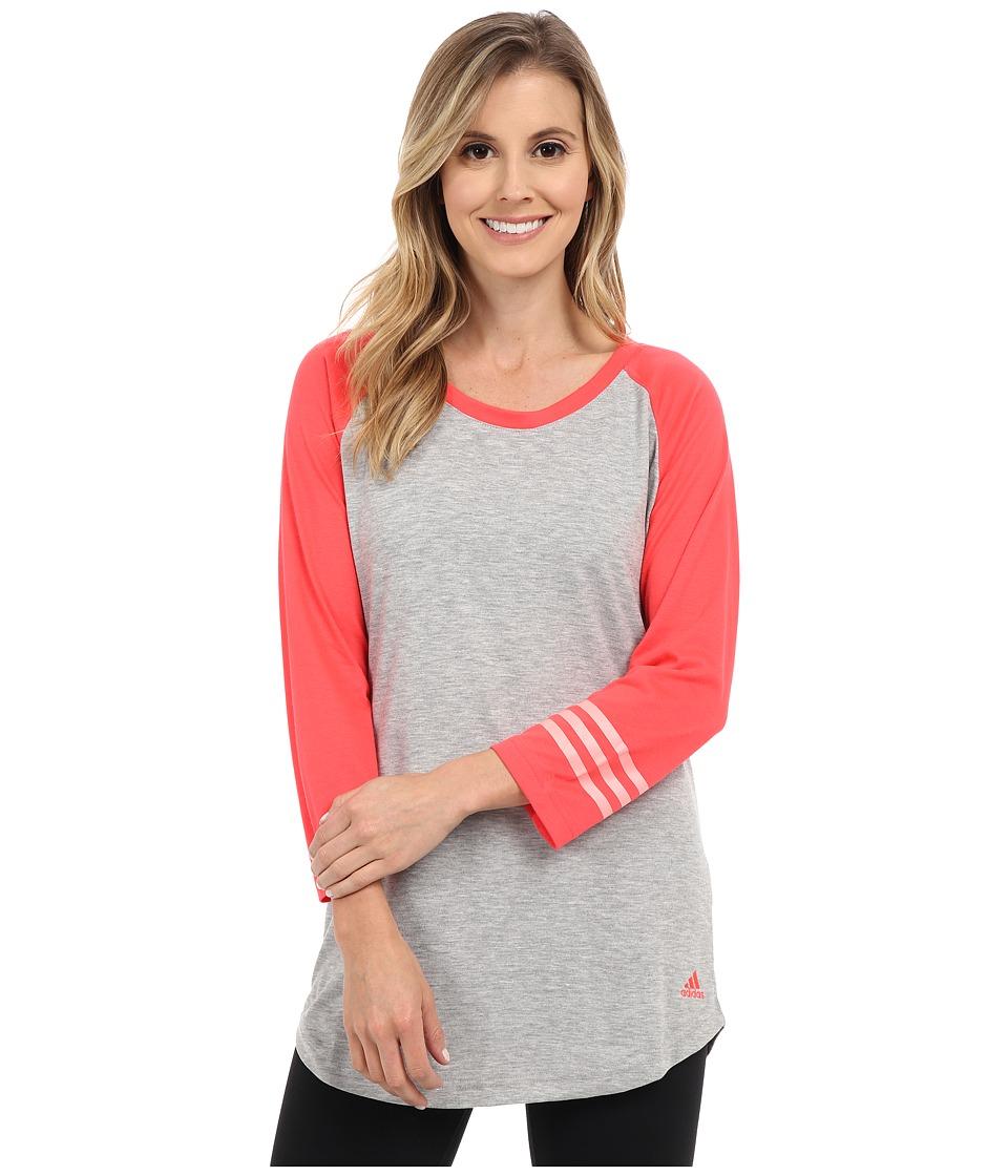 adidas - 3-Stripes Raglan Tunic (Medium Grey Heather/Shock Red) Women