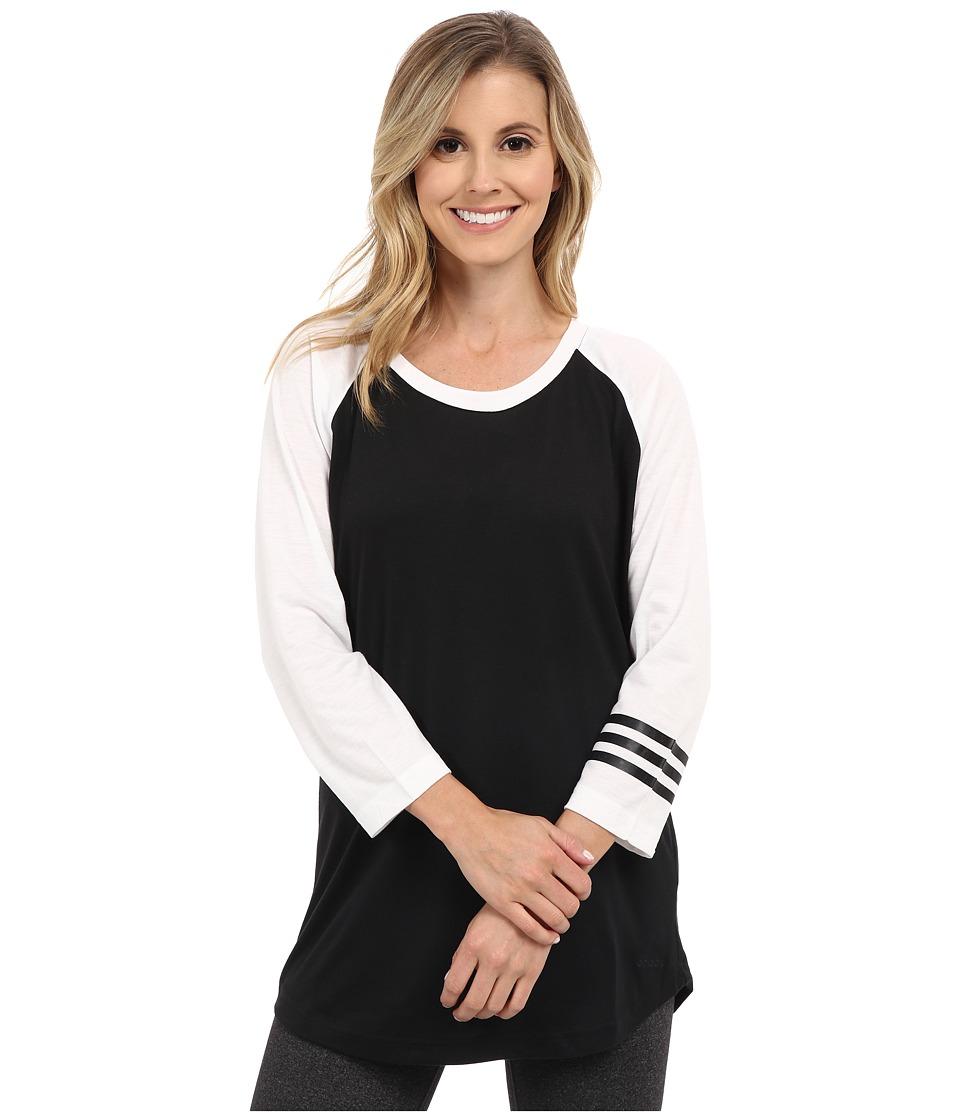 adidas - 3-Stripes Raglan Tunic (Black/White) Women