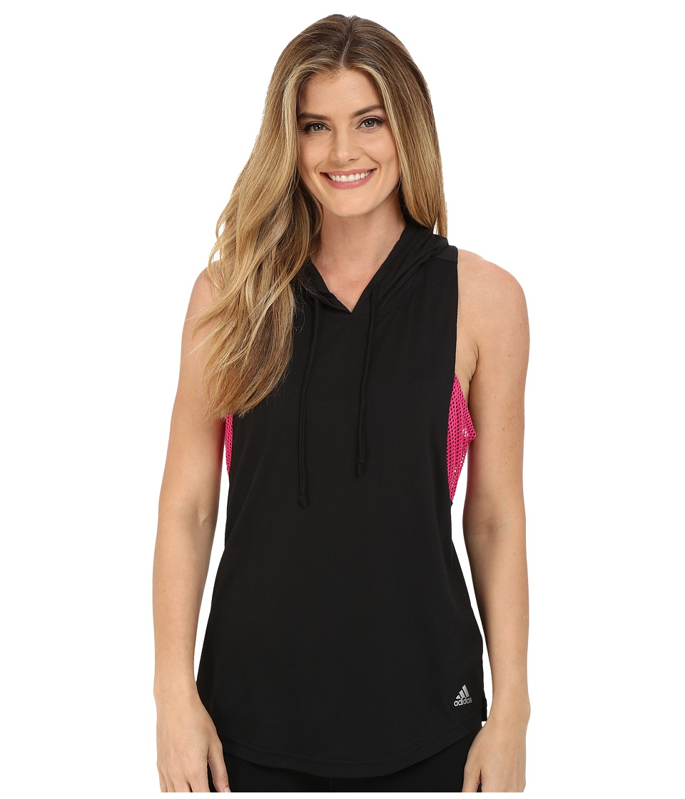 adidas - Spring Break Sleeveless Hoodie (Black/Shock Pink) Women's Sweatshirt