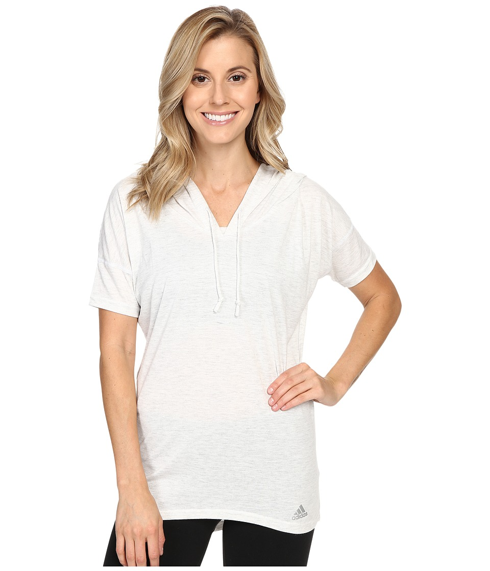 adidas - Mesh Mix Short Sleeve Hooded Cover-Up (White) Women's Clothing