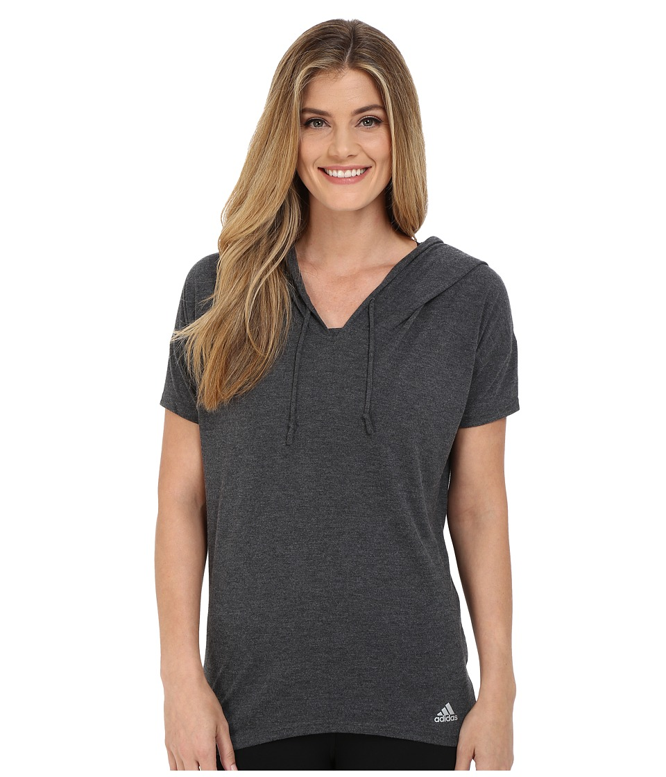 adidas - Mesh Mix Short Sleeve Hooded Cover-Up (Dark Grey Heather/Black/Matte Silver) Women